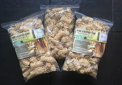 Natural Firelighters 3xZIPS=180pieces for Stoves Fireplace BBQ UK free shipping