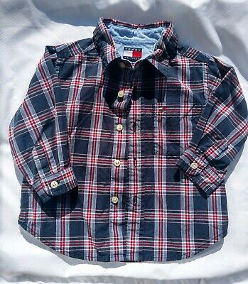 #AA42 Tommy Hilfiger Baby Boy Blue & Red & white long Sleeve Shirt 12-18 mos euc