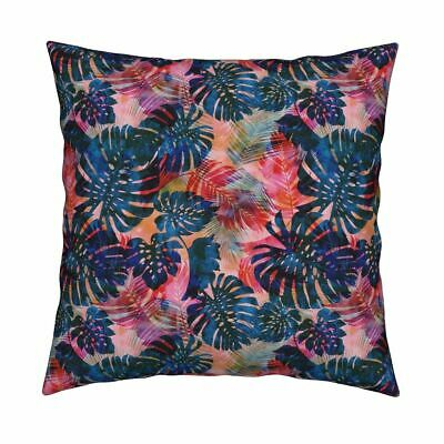 Monstera Leaves Tropical Plants Throw Pillow Cover w Optional Insert by Roostery
