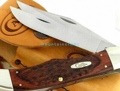 Case XX Large Folding Hunter 2 Blades Stamina Wood Handle Knife Leather Sheath