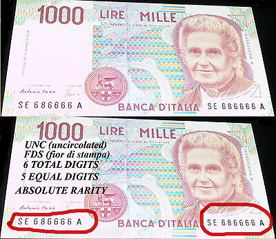 1000 LIRE 5 EQUAL ON 6TOTAL DIGITS special price UNC FDS ABSOLUTE RARITY