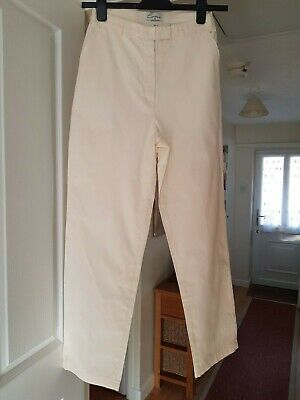 Ladies Pale Yellow Casual Trousers, 100% Cotton, Straight Leg, Size 12