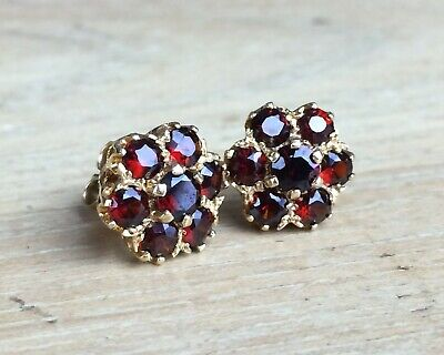Beautiful 9ct Gold 375 Hallmarked Garnet Cluster Earrings With 9ct Butterflies