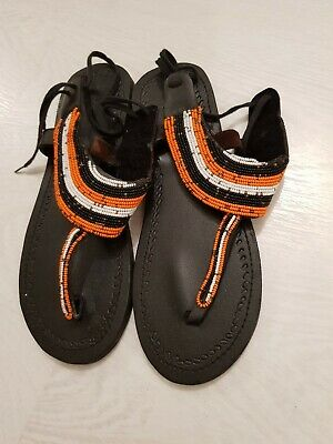 Brand New African Beaded Leather Tribal Masai Sandals Size 40 (Black)