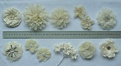 CHAMPAGNE CREAM Fabric Flowers SINGLE approx 30-95mm Across - 10 Style Choice CB