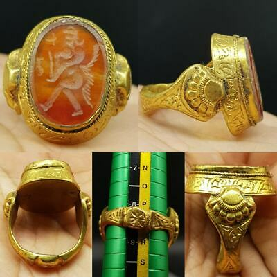 Medieval Old King Agate intaglio Stone Gold gilding Rare Ring   # 10F