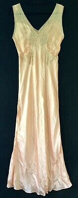 Antique Vtg 30s 40s Franklin Simon peach silk crepe ecru lace bias nightgown M/L
