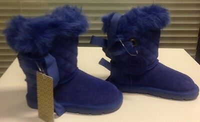 Girls child size UK 5 M&S Stunning Blue Leather Suede  Boots with Fur BNWT