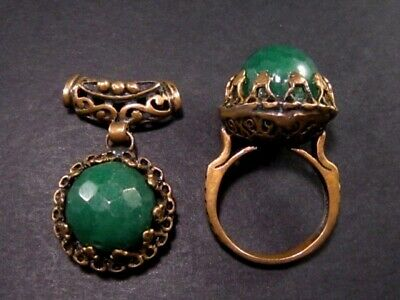 Marvelous Antique Bronze Ring And Pendant With Large Green Stones!!!