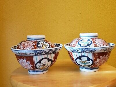 TWO c.19th Antique Japanese Japan Arita Hizen Imari Porcelain Bowl With Lid