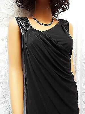 WHISTLES Beautiful Black Silk Toga Style Dress with Metal Mesh shoulder size 8