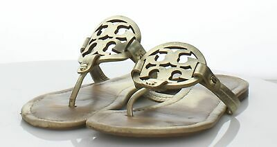 a8827d605 TORY BURCH METAL Miller Goldenrod Leather Sandal Shoes Thongs 9.5 ...