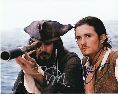 Johnny Depp & Orlando Bloom autographed 8x10 photograph RP