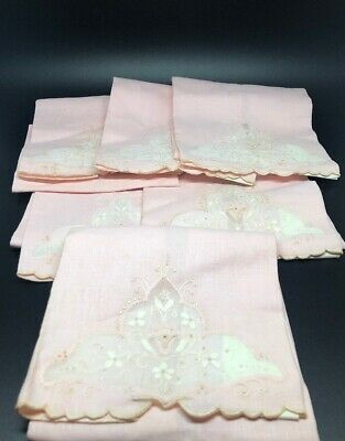 6 Vintage MADEIRA Cocktail Napkins White,Pink in organdy window,hand Embroidery