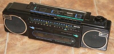 Philips 'Moving Sound' BoomBox Dual Cassette Recorder - BOOM BOX - MINT FM - ede