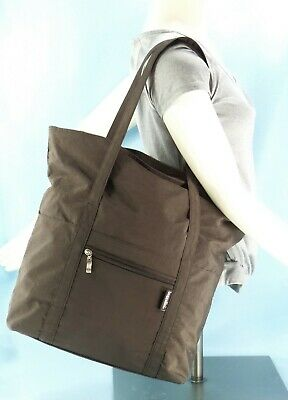 Baggallini Dk Brown XL Shoulder Tote Bag Travel Carry On Expands Packable $49EXC