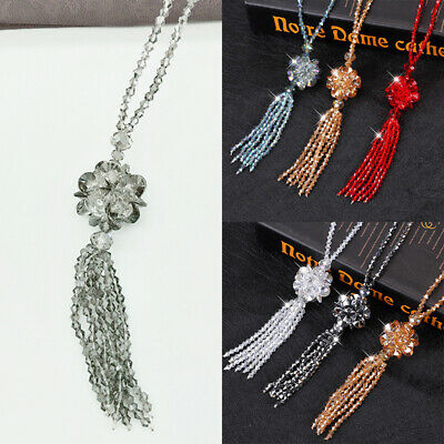 1PC Long Tassel Crystal Flower Pendant Bead Chain Sweater Necklace Women Fashion