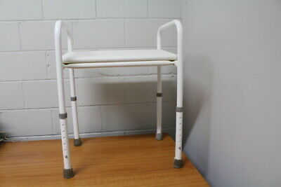 Sturdy Well Made Steel Shower Stool Height Adjustable-Very Good Condition