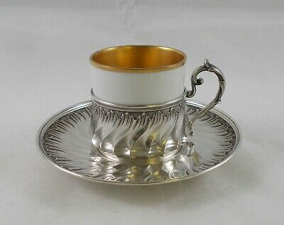 Rare Magnificent Coffee Cup in Rococo Style from 950er Sterling Silver, France