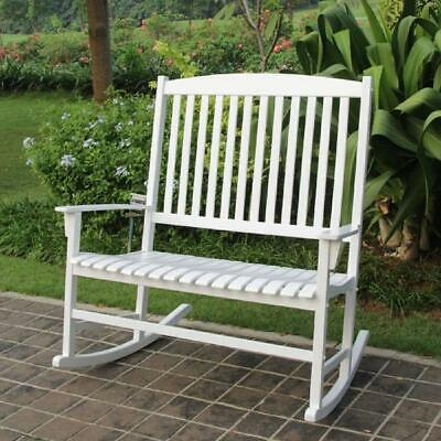 Wooden Double Rocking Chair Outdoor Patio Garden 2 Person Durable Solid Wood