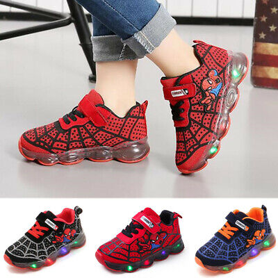 Spider Kids Athletic Shoes Girl Boy LED Light Up Sneakers Luminous  Trainers