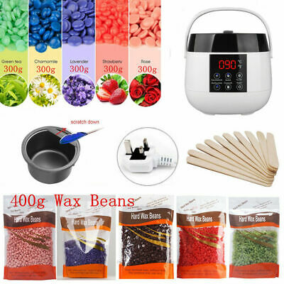 300g Waxing Kit Hard Painless Pearl Wax Beads Heater Hair Complete Removal Set
