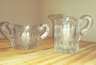Vintage Glass Hexagon Creamer & Sugar, Etched Flowers & Leaves, Scalloped Rims