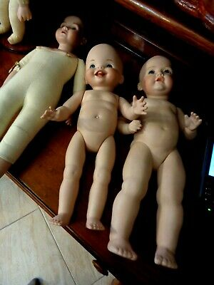 Set Of 3 Vintage Bisque Porcelain Dolls /Figurines - Mint Condition Hand Painted