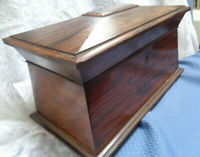 Antique X-Lg Victorian Rosewood Sarcophagus Casket Box Whatever Letters Jewelry+