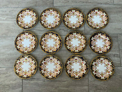 Antique Royal Crown Derby English Imari Porcelain 3707 Set of 12 Plates