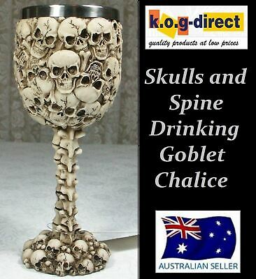 Gothic Skulls Skull And Spine Goblet Chalice With Stainless Steel Insert New