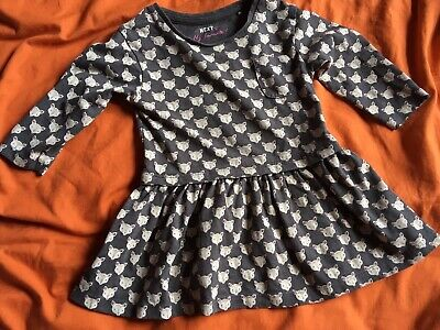 Baby Girls Cotton Mouse Grey Long Sleeve Dress 6-9 Months Next