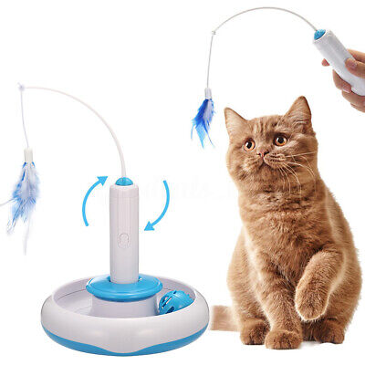 FOCUSPET Automated  Interactive Toys Electric Rotate Feather Toys for
