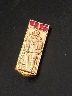 Pin Badge Soviet Russia 45 years of victory in WWII Aljosha Soldier