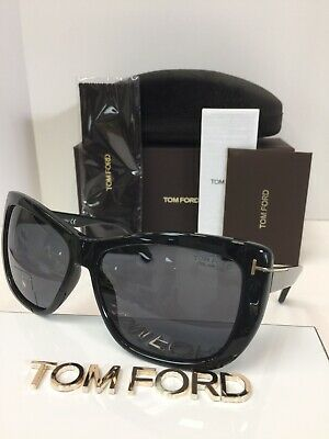 4f4ba49dd3015 NIB TOM FORD Lindsay TF 434 01D Black Polarized Plastic Sunglasses ...