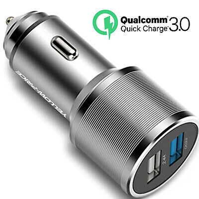 35W LED Indicator Qualcomm Quick Charge 3.0 Car Charger Dual USB Charging Ports