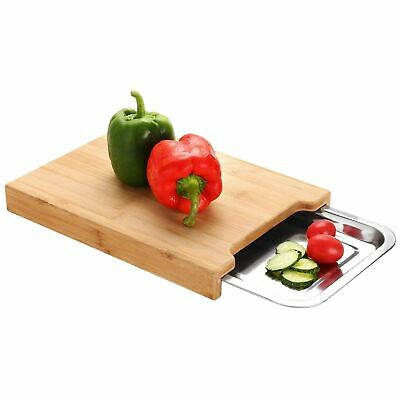 Wooden Bamboo Chopping Board Cutting Slicing With Sliding Stainless Steel Tray