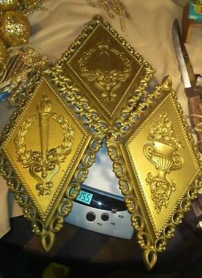 3 Vintage 1971 HOMCO Hollywood Regency Wall Plaques 7225 /7227 Gold Made in USA