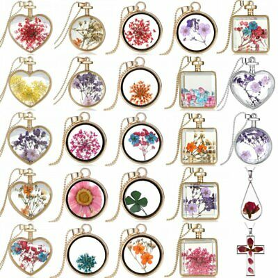 Hot Natural Real Dried Flower Round Heart Glass Floating Locket Pendant Necklace