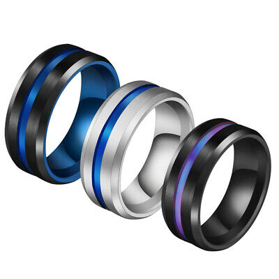 8mm Black/Blue Brushed Band 316L Stainless Steel Men's Engagement Rings Sz 6-13