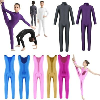 Girls Full Length Bodysuit Dancewear Ballet Leotard Unitard Catsuit Kid Costume