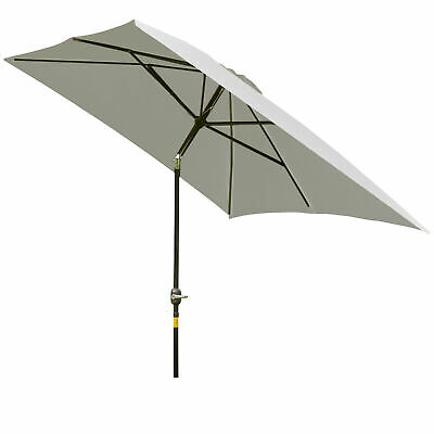 Outsunny 3 x 2m Garden Parasol Aluminium Patio Umbrella Tilt Crank Sun Shade New