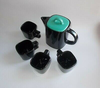 Vintage Small Square Teapot w 4 Small Square Cups-Glossy Black w Turquoise Lid