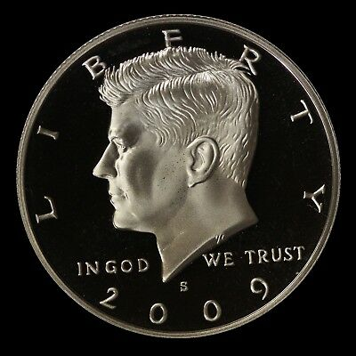 """2009 S Kennedy Half Dollar Deep Cameo Clad PROOF US Coin """"IMPERFECT DISCOUNTED"""""""