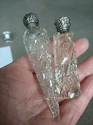 2 Antique Silver Topped Miniature Scent Bottles. 1 Victorian