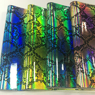 21X29cm A4  Holographic snake skin Print Faux Synthetic Leather DIY