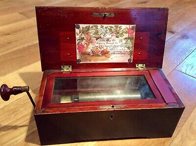 Early 18Th Century Hand Crank Mahogany Music Box With Mellow Melodies