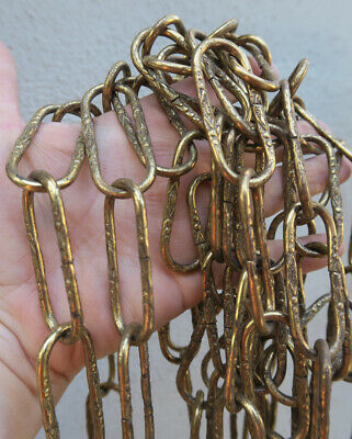 """12"""" Vintage Brass plated chain links part lamp chandelier ORNATE EMBOSSED old"""