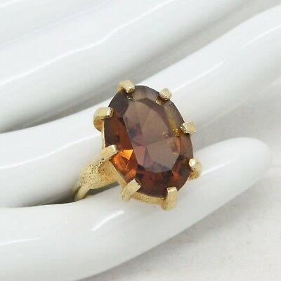 Vintage Signed Sarah Coventry Cov Heritage Topaz Glass Cocktail RING Jewellery