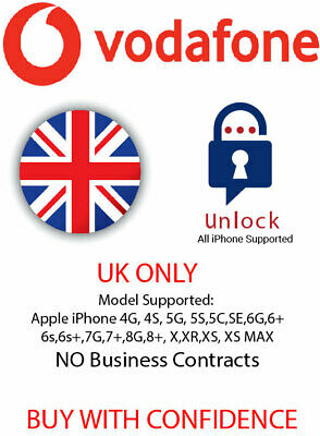 Factory Unlock Service VODAFONE UK For Apple iPhone 7 Plus 7 6 6+ 8 8+ 5 5S SE 4